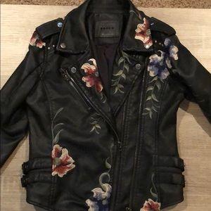 BlankNYC Blk Embroidered Vegan Lthr Moto Jacket